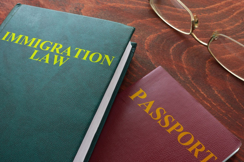 immigration law book and a passport, symbolizing immigration