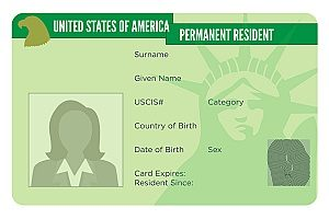 an image representing a United States green card in which the EB-5 visa is seen as a pathway to