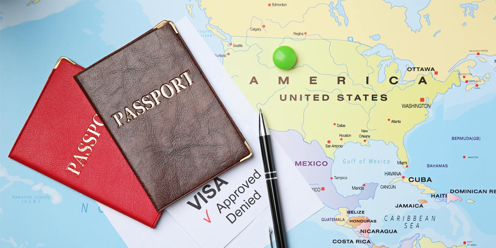 Passport-and-travel-visa-with-map-of-US