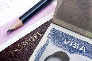 Passport and visa stacked together