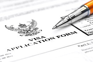close up view of a student visa application form