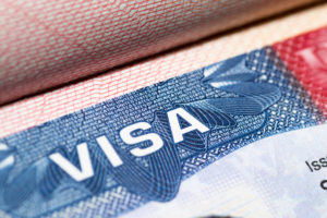 magnified view of the visa of a permanent labor certification recipient