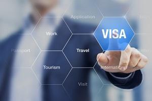 Man with Digital Visa Button